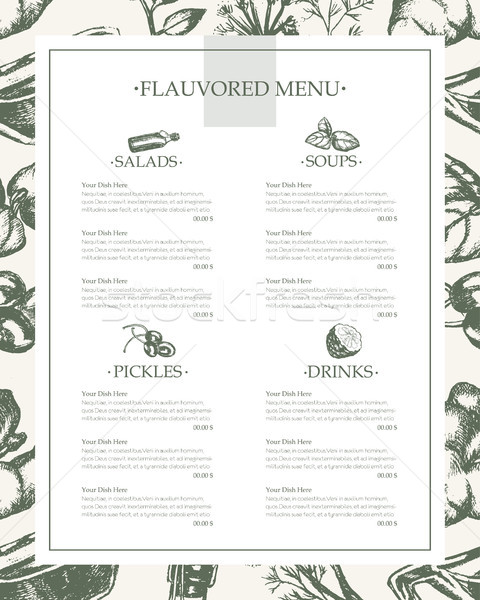 Flavoured Products - hand drawn template menu Stock photo © Decorwithme