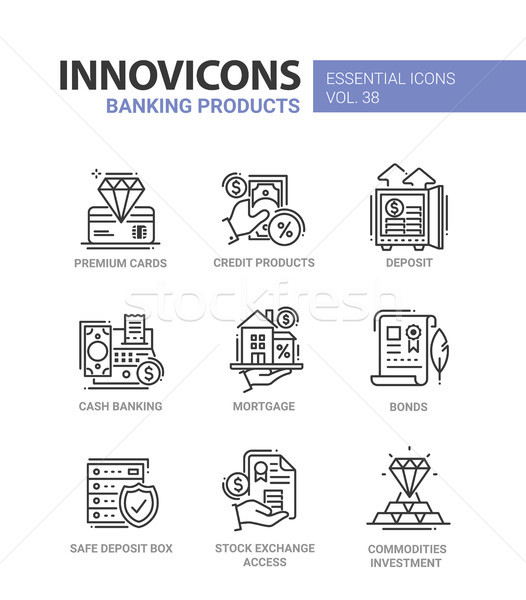 Banking Products - modern vector line design icons set. Stock photo © Decorwithme