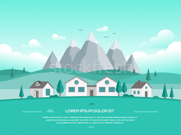 Landscape with houses by the mountains - modern vector illustration Stock photo © Decorwithme