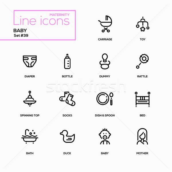 Maternity concept - line design icons set Stock photo © Decorwithme