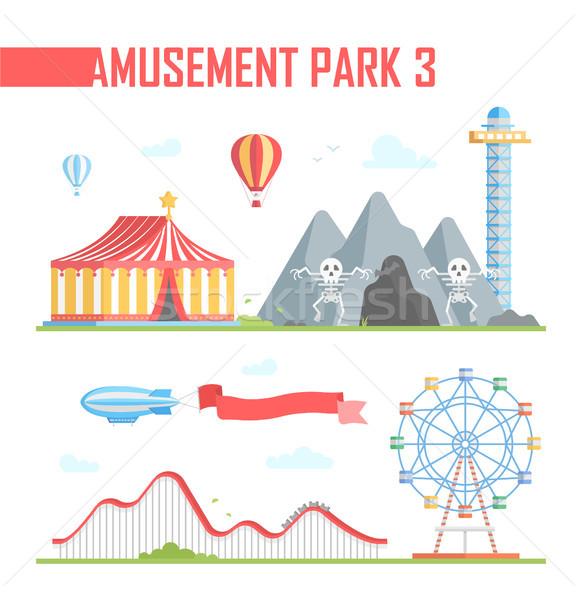 Set parco di divertimenti elementi moderno bianco montagne russe Foto d'archivio © Decorwithme