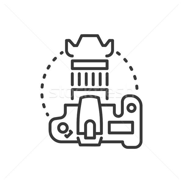 Dslr камеры линия дизайна изолированный икона Сток-фото © Decorwithme