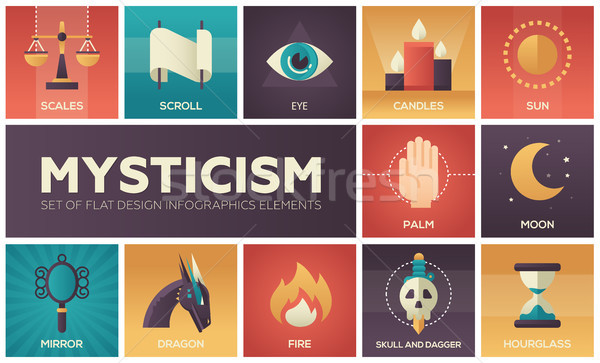 Mysticism - set of flat design infographics elements Stock photo © Decorwithme