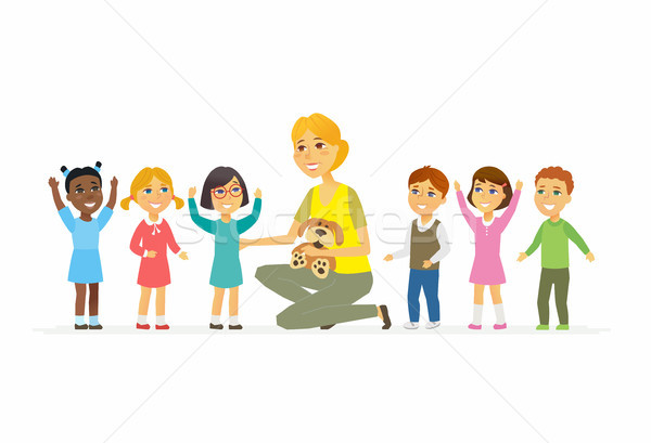 Nursery teacher with children - cartoon people characters isolated illustration Stock photo © Decorwithme