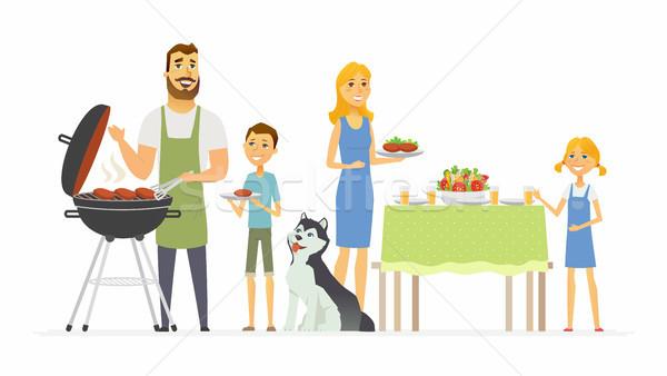 Boldog család barbecue modern rajzolt emberek betűk illusztráció Stock fotó © Decorwithme