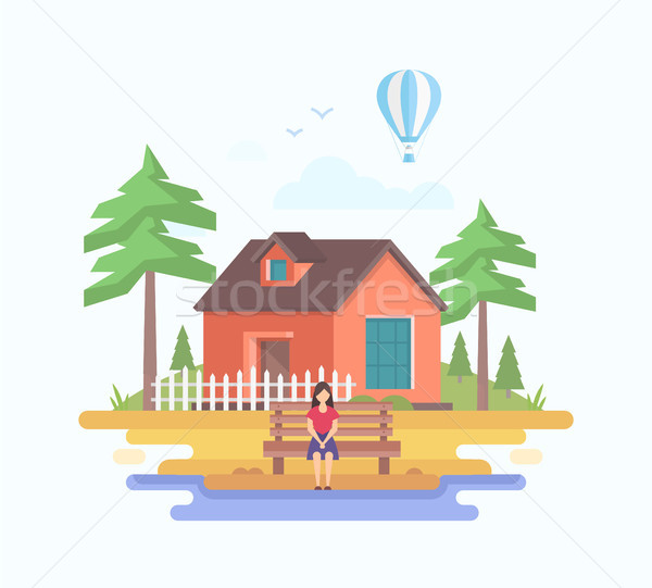 House in the village - modern flat design style vector illustration Stock photo © Decorwithme