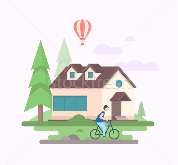 Landscape with a house - modern flat design style vector illustration Stock photo © Decorwithme