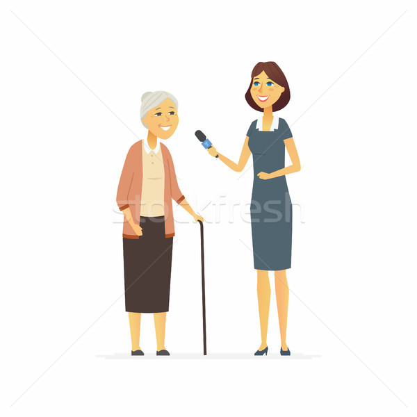 TV presenter interviewing senior woman - cartoon people character isolated illustration Stock photo © Decorwithme