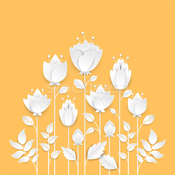 Paper cut growing flowers - modern vector colorful illustration Stock photo © Decorwithme