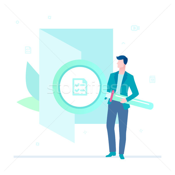 Search in a folder - flat design style colorful illustration Stock photo © Decorwithme