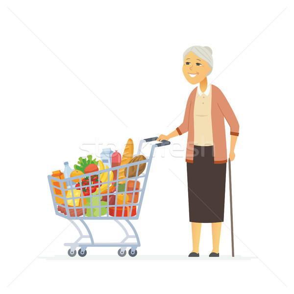 Idős nő bevásárlókocsi rajzolt emberek betűk izolált Stock fotó © Decorwithme