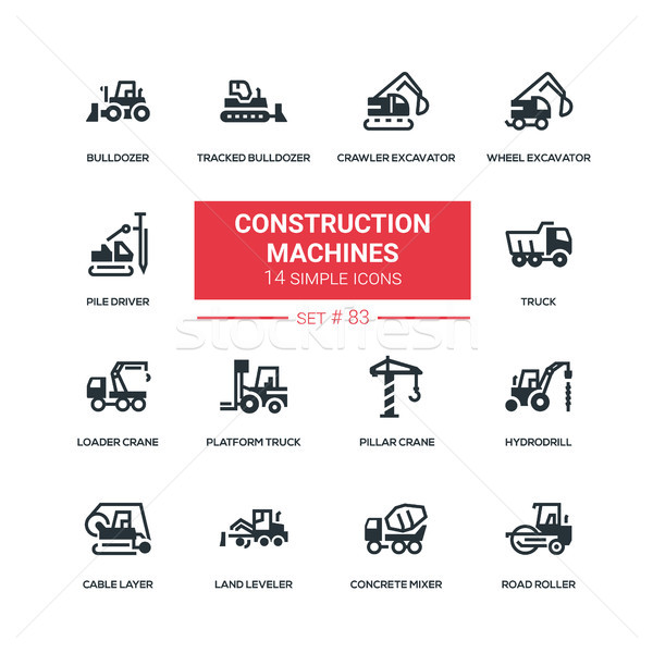 Construction machines - flat design style icons set Stock photo © Decorwithme