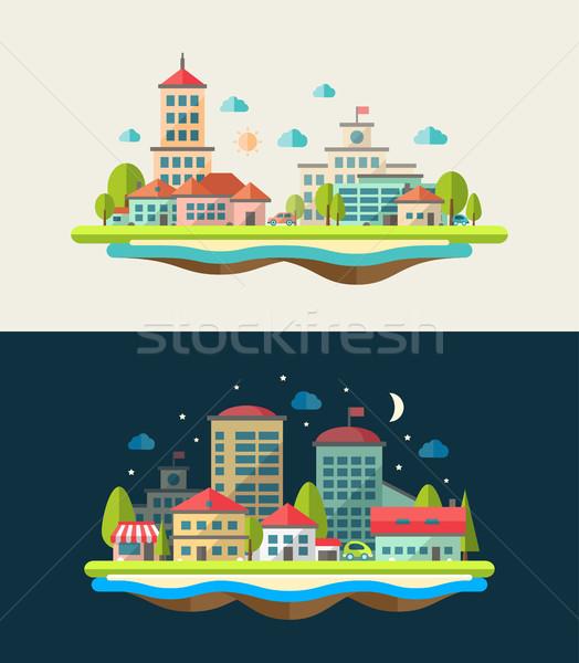 Illustration of flat design urban landscape compositions Stock photo © Decorwithme