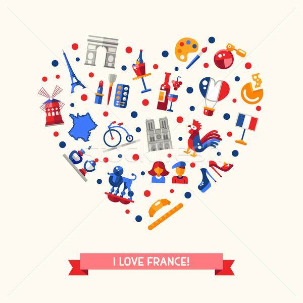 France Voyage icônes coeur carte postale célèbre Photo stock © Decorwithme