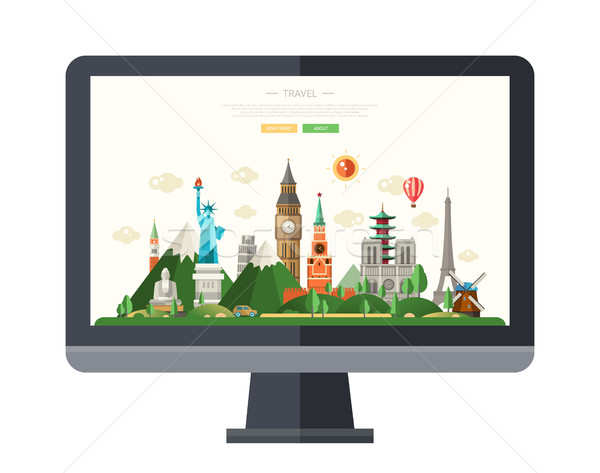 Flat design illustration with world famous landmarks on a display Stock photo © Decorwithme