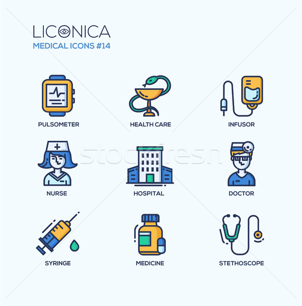 Medicine - thin line design icons, pictograms Stock photo © Decorwithme