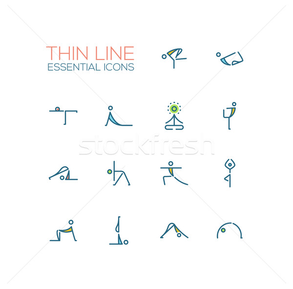 Yoga Poses - Thin Single Line Icons Set Stock photo © Decorwithme