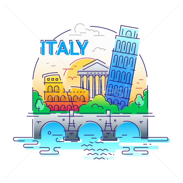 Italie modernes vecteur ligne Voyage illustration Photo stock © Decorwithme