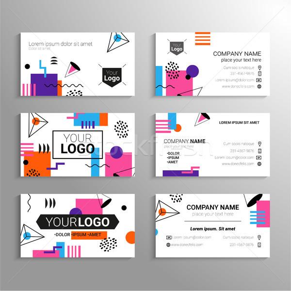 Visitenkarten Vektor Vorlage abstrakten Design selbst Stock foto © Decorwithme