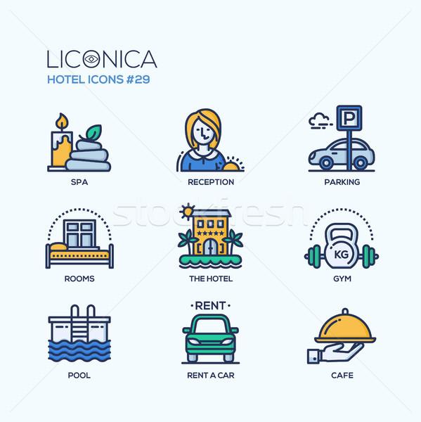 Stock photo: Hotel - modern vector flat line design icons set.
