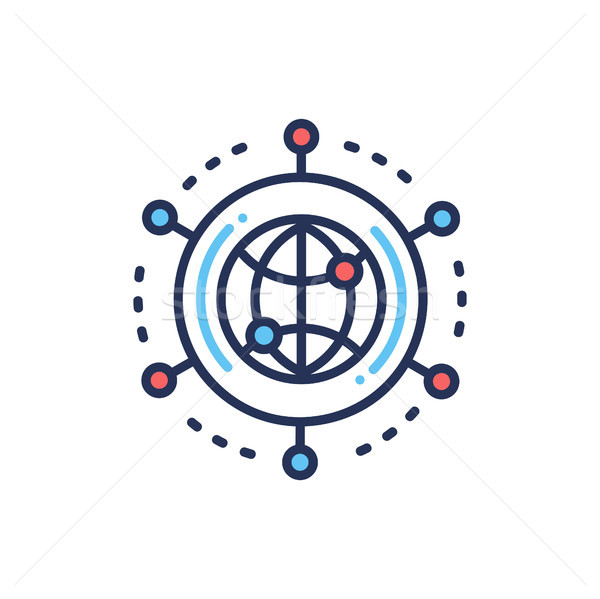 Global Networking - modern vector line design single icon. Stock photo © Decorwithme