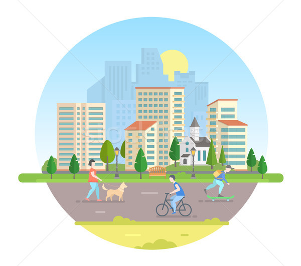 Active citizens - modern vector illustration in a round frame Stock photo © Decorwithme
