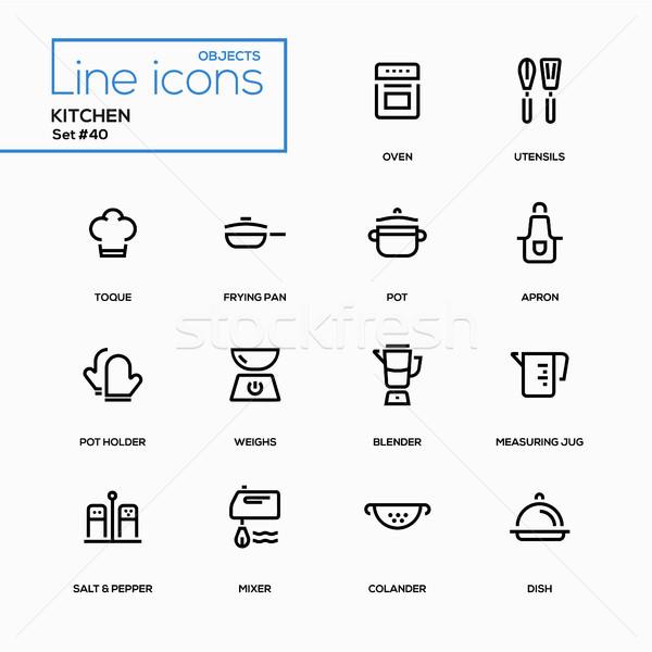 Kitchen utensils - line design icons set Stock photo © Decorwithme