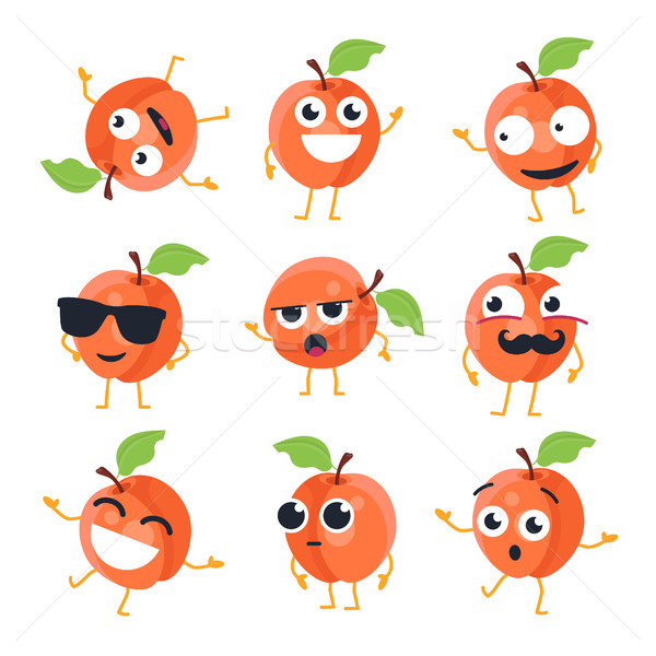 Funny peach - vector isolated cartoon emoticons Stock photo © Decorwithme