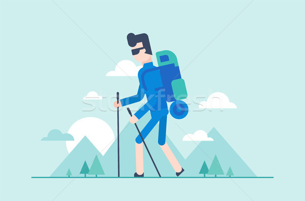 Nordic walking tour - modern flat design style illustration Stock photo © Decorwithme