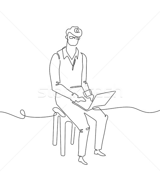 Businessman with a notebook - one continuous line design style illustration Stock photo © Decorwithme