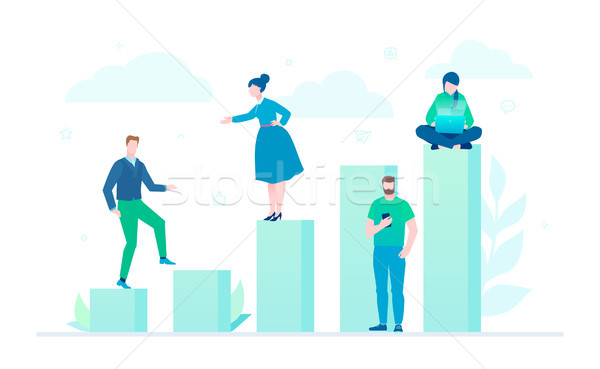 Business growth - flat design style colorful illustration Stock photo © Decorwithme