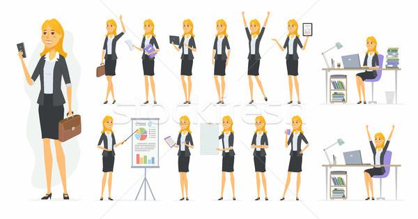 Csinos üzletasszony vektor rajzolt emberek karakter szett Stock fotó © Decorwithme