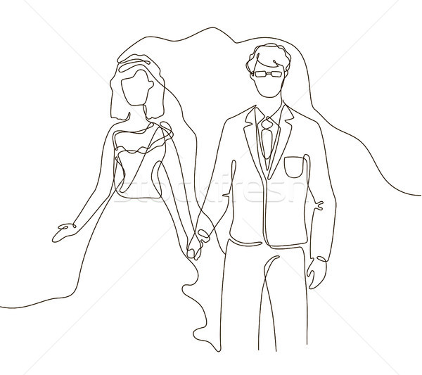 Wedding - one line design style illustration Stock photo © Decorwithme