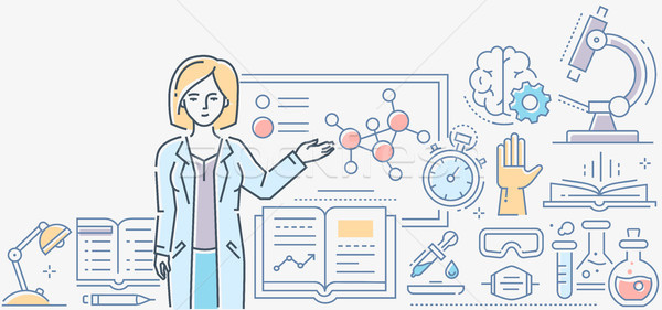 Chemistry lesson - colorful line design style illustration Stock photo © Decorwithme
