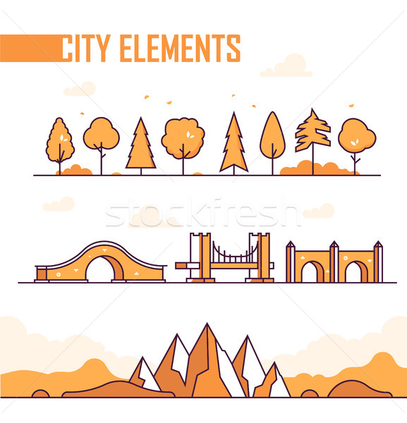 Set of city elements - modern vector isolated objects Stock photo © Decorwithme