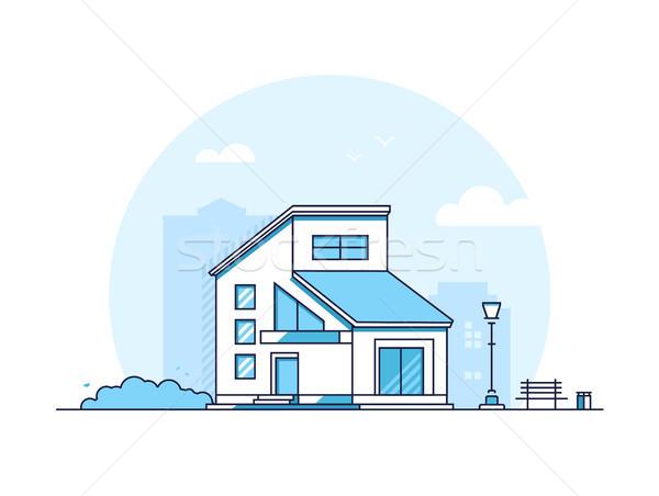 Domek domu nowoczesne cienki line projektu Zdjęcia stock © Decorwithme