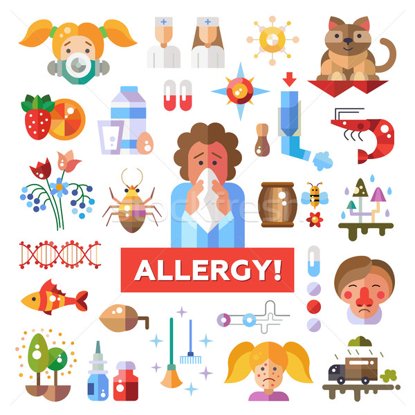 Set of flat design allergy and allergen icons, infographics elements Stock photo © Decorwithme