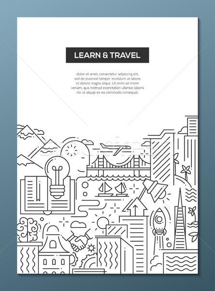 Foto d'archivio: Imparare · viaggio · line · design · banner · vettore