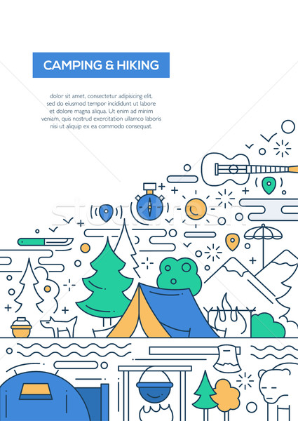 Kemping turystyka line projektu broszura plakat Zdjęcia stock © Decorwithme