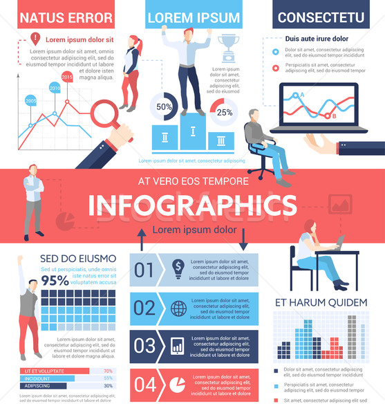 People Infographics - poster, brochure cover template Stock photo © Decorwithme
