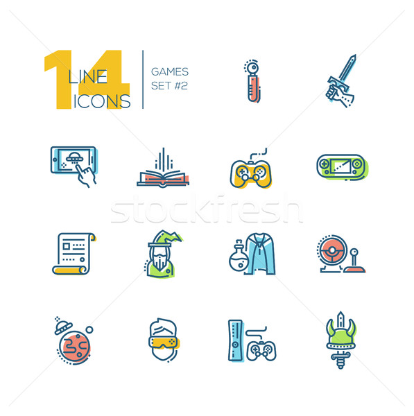 Video Gaming - thick line icons set Stock photo © Decorwithme