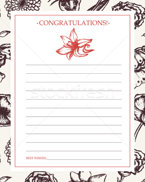 Beautiful Flowers - monochromatic hand drawn template card. Stock photo © Decorwithme