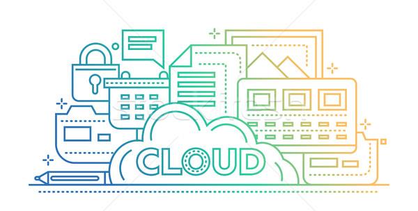 Foto d'archivio: Nube · stoccaggio · tecnologia · line · design · sito