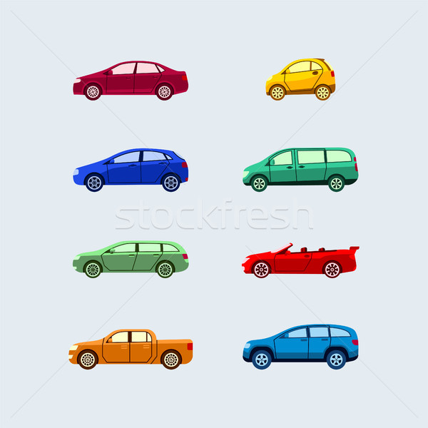 Car Classification - modern vector flat design icons set. Stock photo © Decorwithme