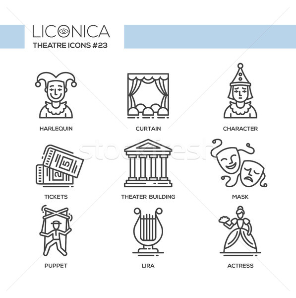 Theater- modern color vector single line design icons set Stock photo © Decorwithme
