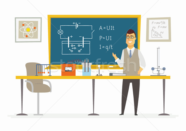 Physics Classroom - male teacher composition at the blackboard Stock photo © Decorwithme