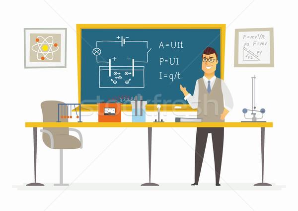 Fysica klas mannelijke leraar Blackboard moderne Stockfoto © Decorwithme