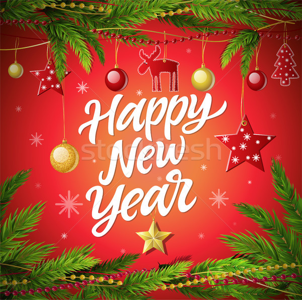 Stock photo: Happy New Year - modern vector realistic illustration with calligraphy text