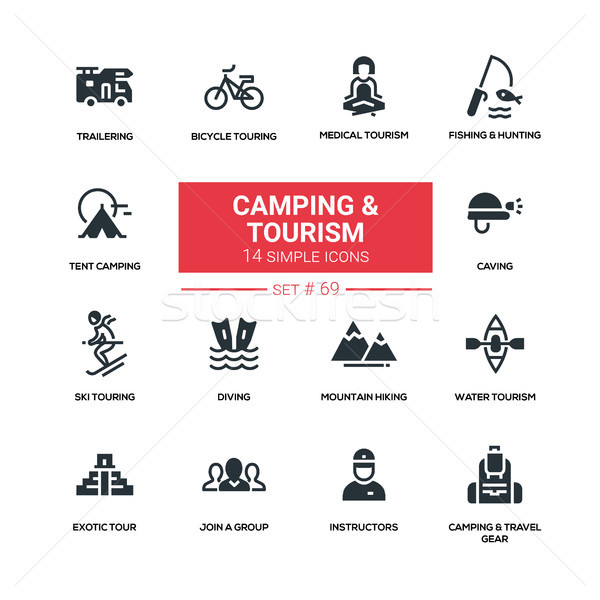 Camping and tourism - line design silhouette icons set Stock photo © Decorwithme