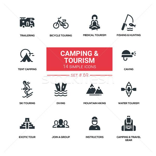 Foto stock: Camping · turismo · linha · projeto · silhueta